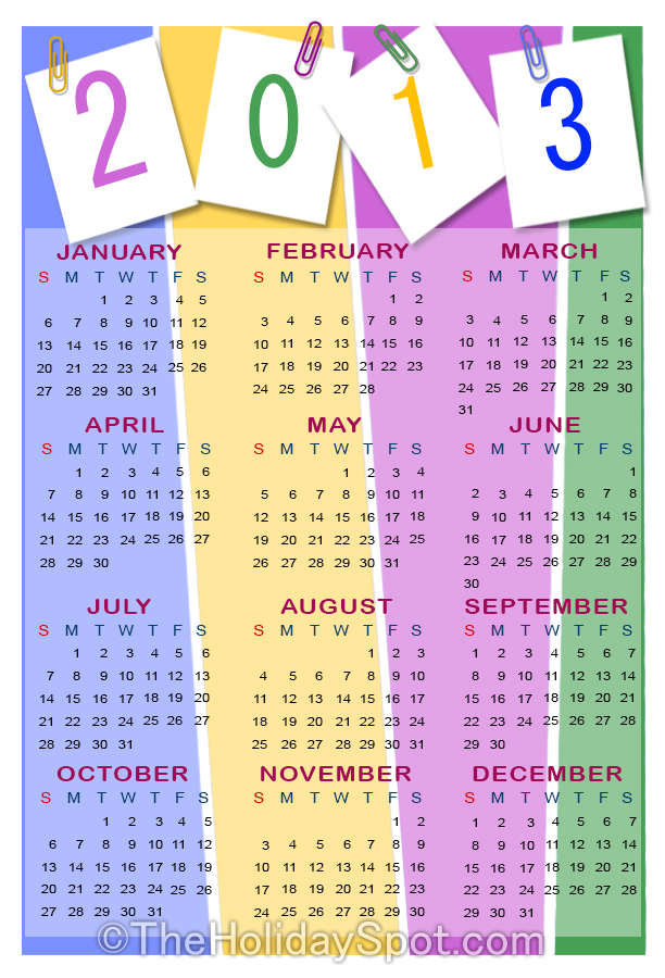 2013 Calendars With Holidays List | just b.CAUSE