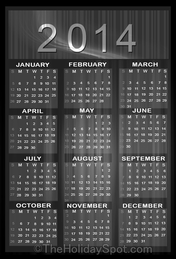 CalendarLabs - Free Printable 2014 Calendar: Holiday