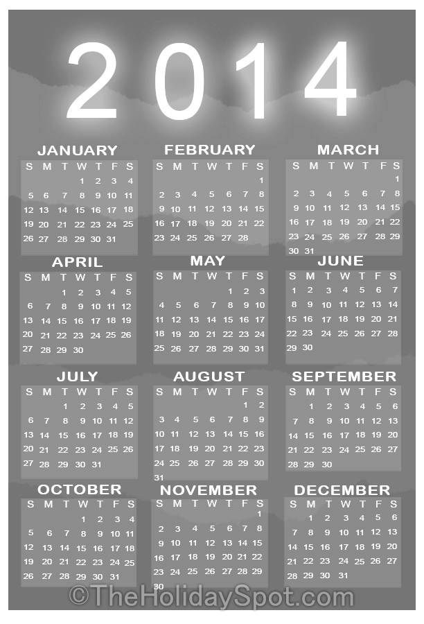 Printable 2014 Yearly Calendars with Holidays