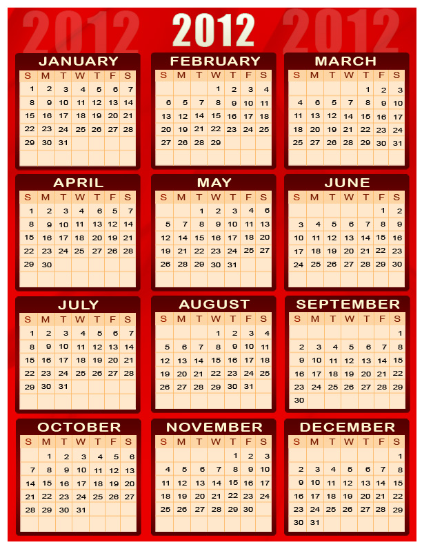 Calendar For The Year 2012.