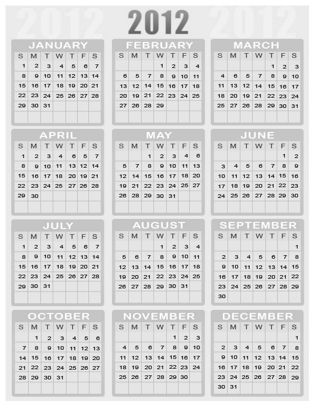yearly calendar 2012 printable. New Year Calendars