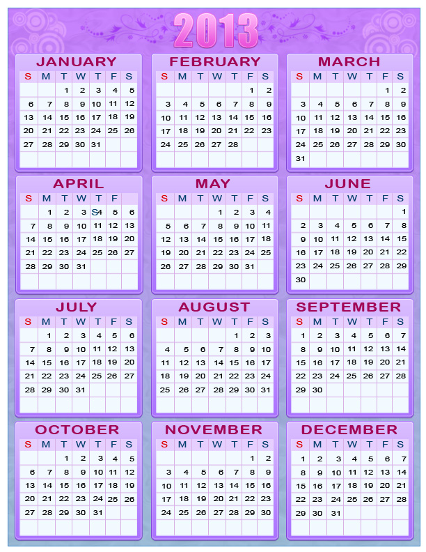 2013 Calender Wallpapers Collections