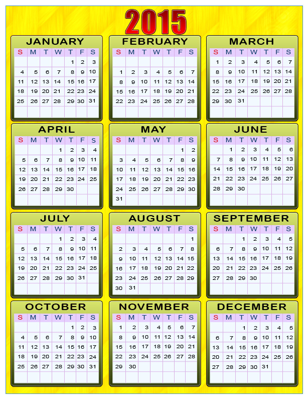 Printable calendars for New Year