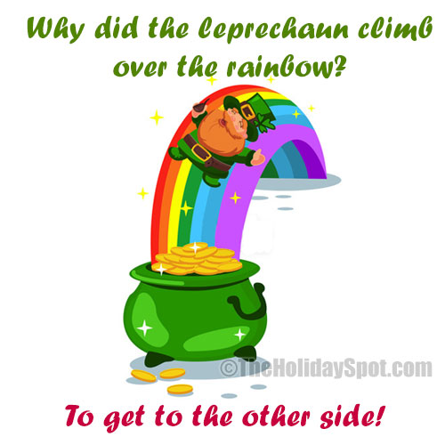 St. Patrick's Day Joke on leprechaun and rainbow