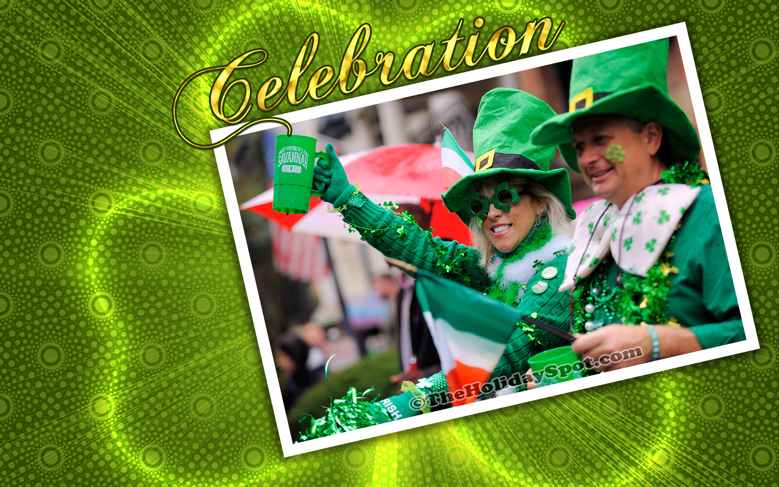 A High Quality St Patricks Day Wallpaper Featuring Two Women Cheering On Pattys