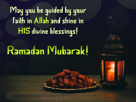 Ramadan Greeting card with the devine blessings of Allah