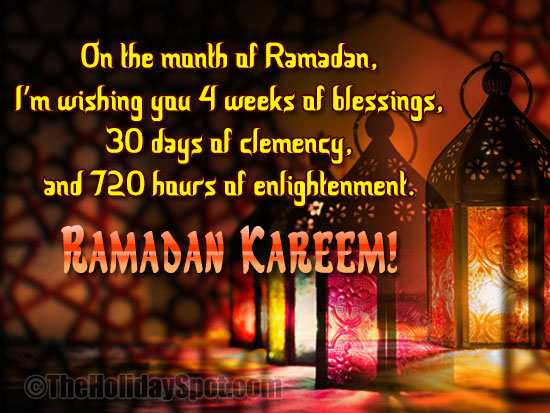 Ramdan card with lots of blessings, clemency and enlightment