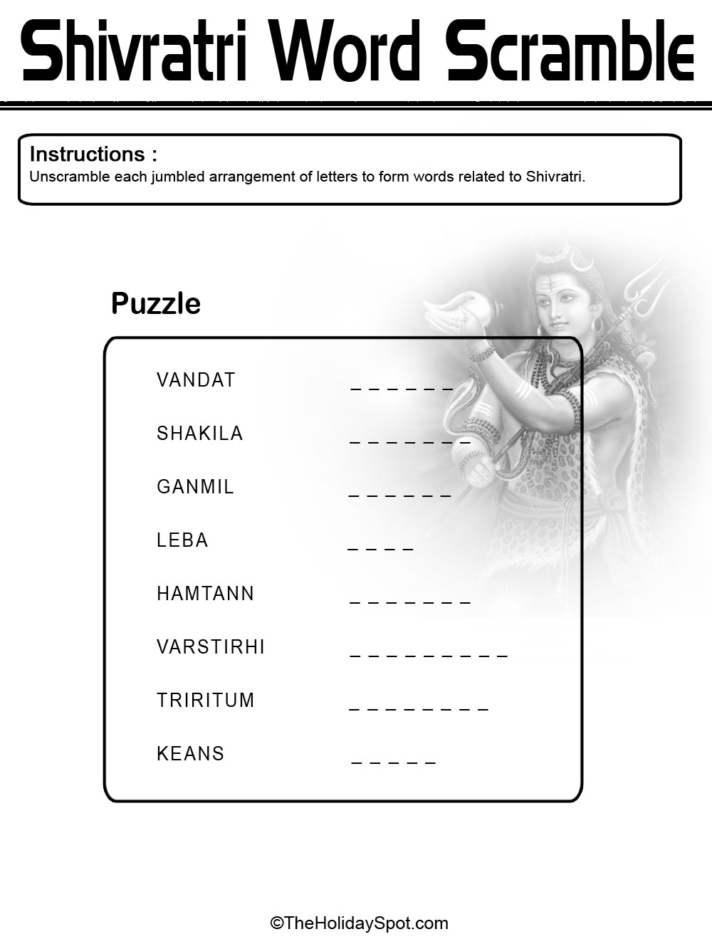 Shivratri Word Scramble Puzzle - Black and White