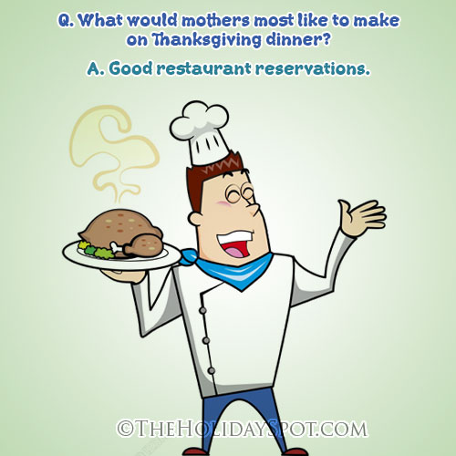Thanksgiving Dinner Joke Image Showing A Chef Carrying A Turkey Roast