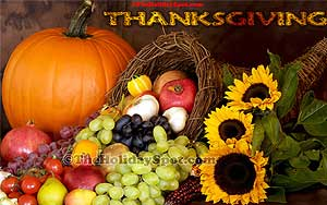 Adorn your desktop with htis high quality Thanksgiving cornucopia wallpers.