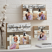 Darling Duo Personalized Reclaimed Wood Photo Clip Frames
