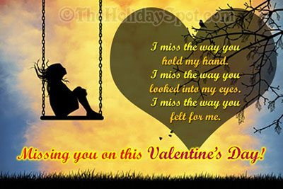 Miss You Valentines Day greeting card
