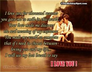 I Love you for thousand reasons