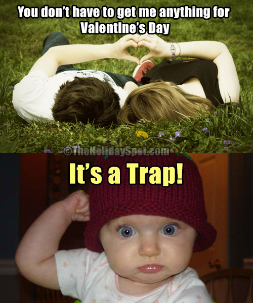 Valentines Day jokes on trap of wife for husband