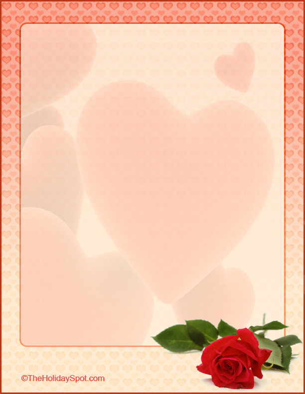 Valentineu0027s Day Hearts And Roses Letterhead  Love Letter Templates Free
